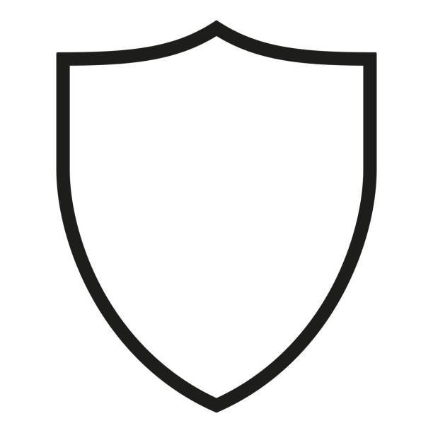 Black and white shield silhouette Black and white shield silhouette. Protection symbol with copyspace for ad. Safety themed vector illustration template for poster, leaflet, certificate, flayer, brochure or invitation background shield stock illustrations