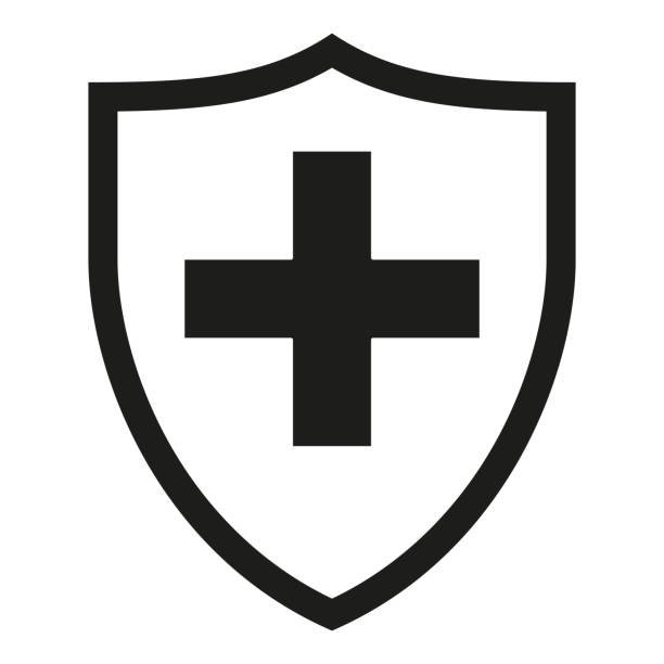 Black and white shield with medical cross silhouette Black and white shield with medical cross silhouette. Health protection concept. Healthcare themed vector illustration for poster, leaflet, certificate, flayer or invitation background immune system stock illustrations