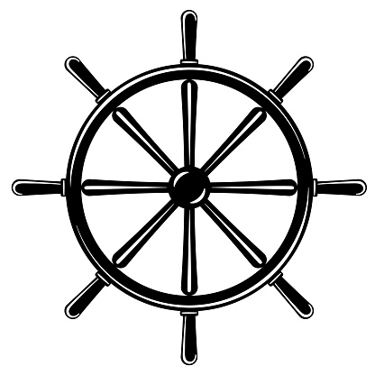 Black and white ship steering wheel vector icon on transparent background.