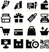 Black and white shopping icons