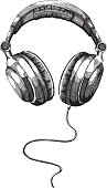 istock Black and white shot of headphones isolated in white 167588397