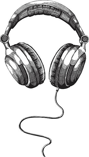 bildbanksillustrationer, clip art samt tecknat material och ikoner med black and white shot of headphones isolated in white - illustrationer med headphones