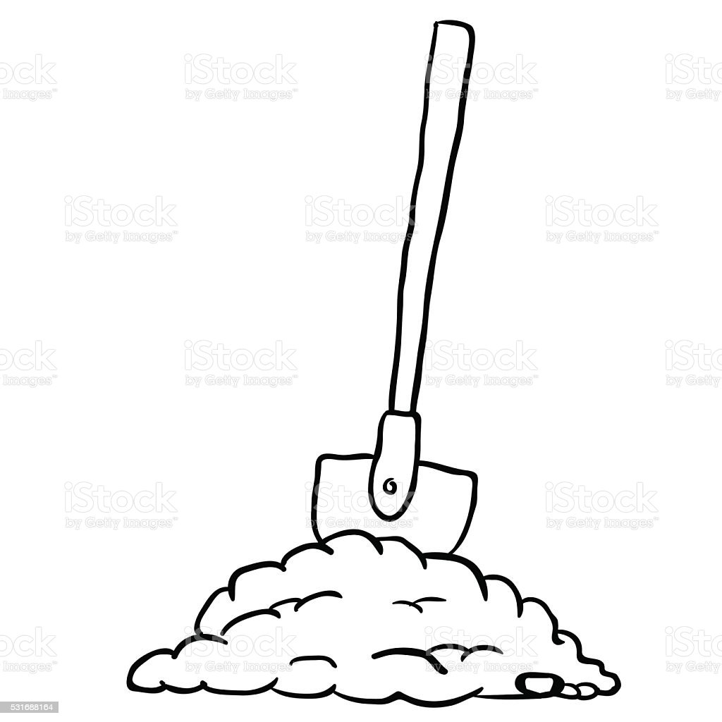 Black And White Shovel In Dirt Stock Vector Art More Images Of Rh Istockphoto Com Pick Clip Building Construction