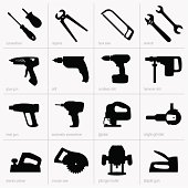 16 black and white silhouette icons showing industrial tools