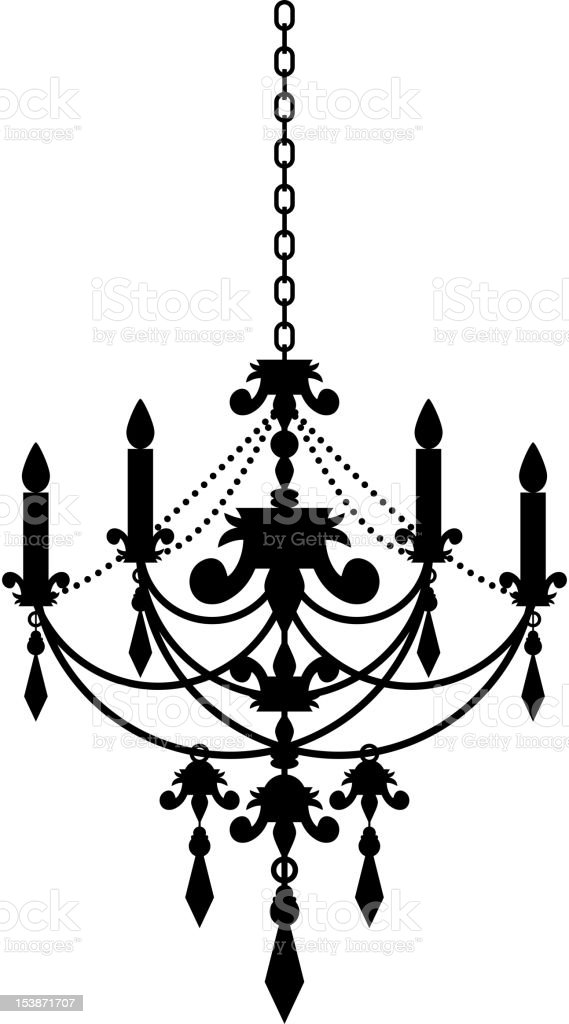 Black and white silhouette illustration of candle chandelier vector art illustration