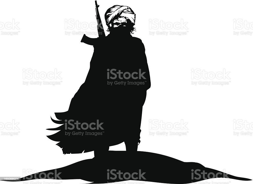 A black and white silhouette of a terrorist vector art illustration