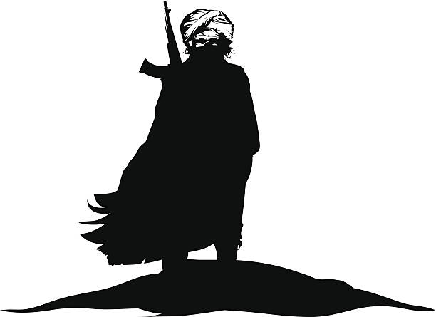 A black and white silhouette of a terrorist Fighter from the middle east. terrorism stock illustrations
