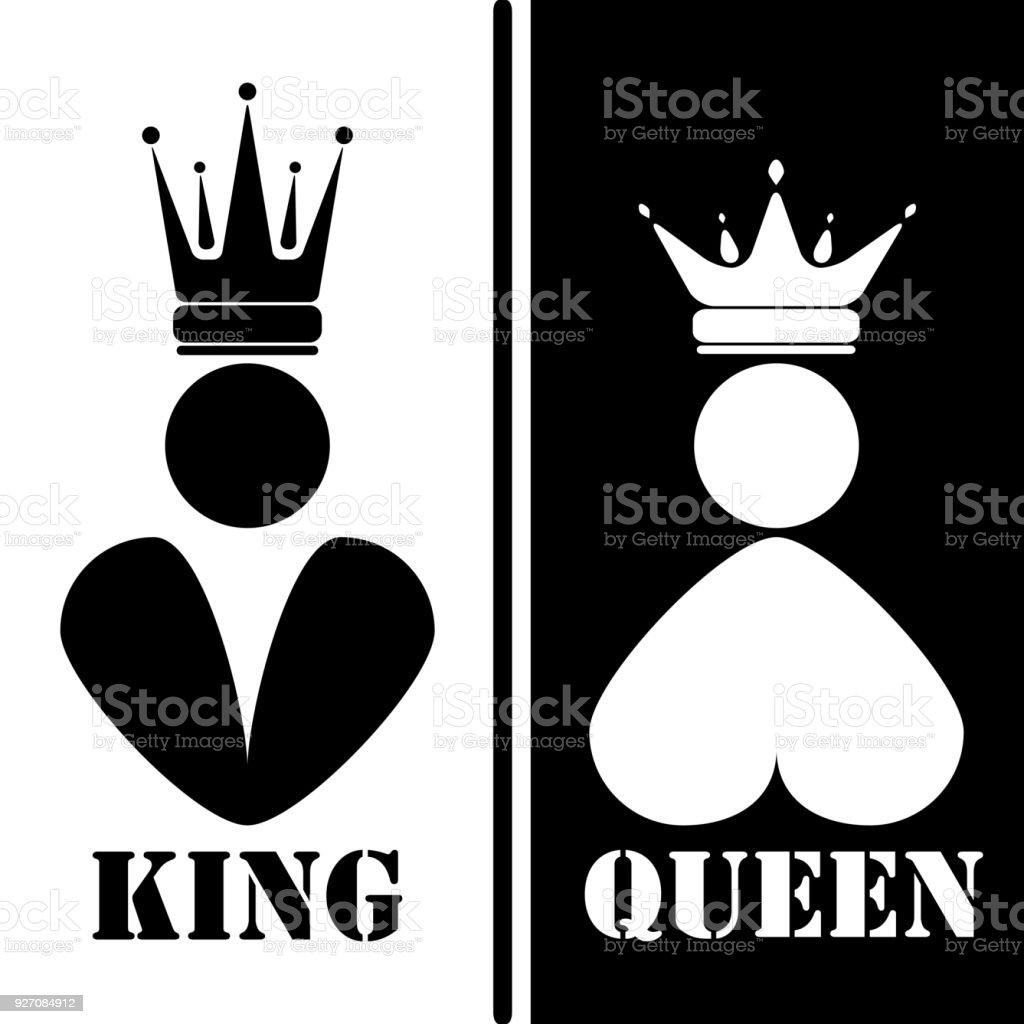 Ilustración de Blanco Y Negro Silueta De Rey Y Reina Familia Real ...