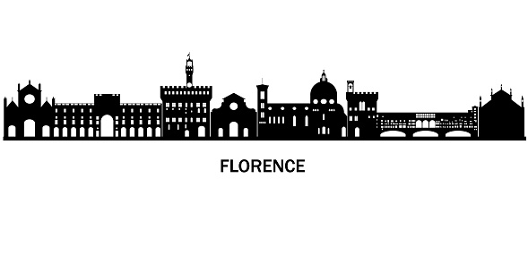 Black and white silhouette of mevieval old italyan city Florence. Design for bacgrounds, tourist goods.