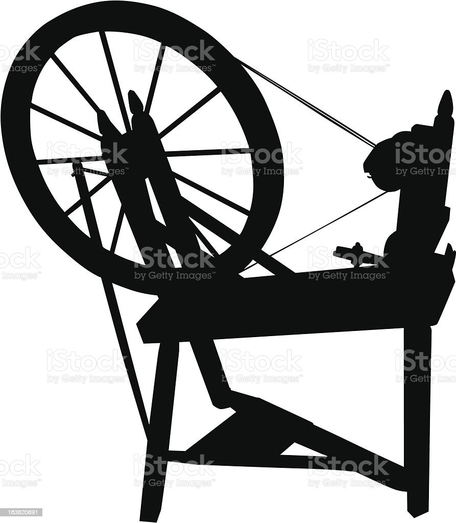 Black and white silhouette of spinning wheel royalty-free stock vector art