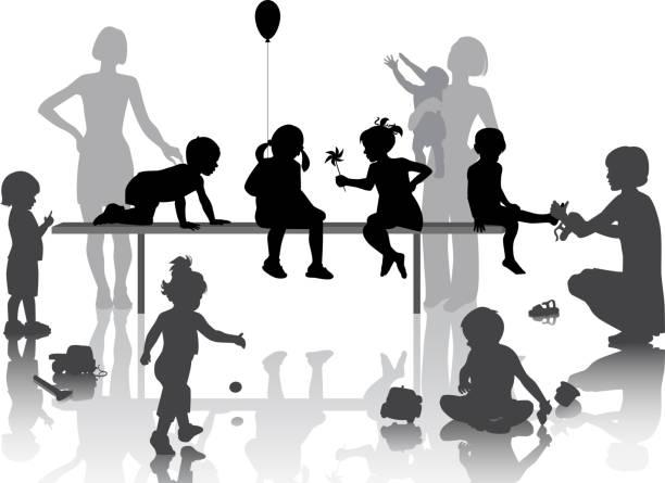 dzieci bawiące się - maluch stock illustrations