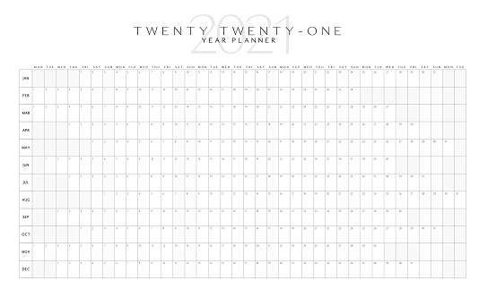 Black and white simple horizontal 2021 Year Planner