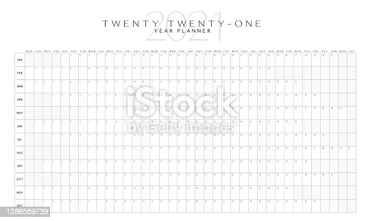 Vector illustration of a simple horizontal 2021 Year planner layout. Print ready jpg or editable vector eps 10 with download. Royalty free.