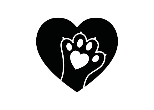 Black and white simple logo with animal paw in heart