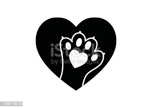 istock Black and white simple logo with animal paw in heart 1163776016