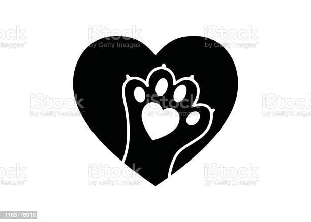 Black and white simple logo with animal paw in heart vector id1163776016?b=1&k=6&m=1163776016&s=612x612&h=siwqflia bs9ekdl4a0xp8fcrmjzrz2qdfgd45lfaa0=