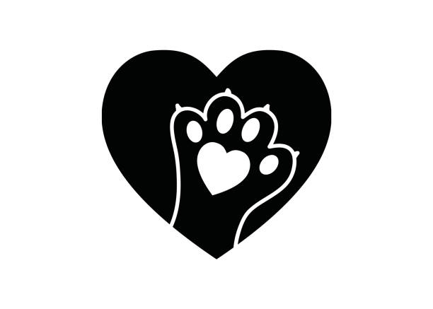 Black and white simple logo with animal paw in heart Animal paw print in heart - black and white logo for shelters, veterinary symbol, animal lovers paw stock illustrations