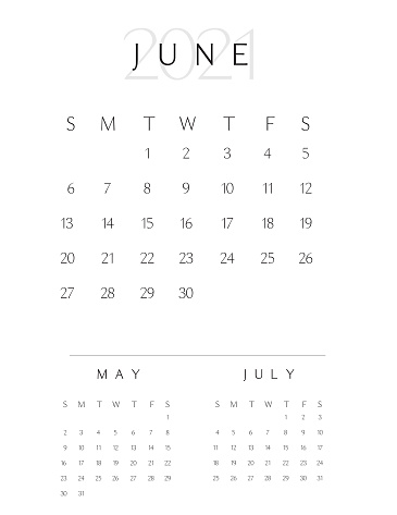 Black and white simple vertical 2021 Year Calendar Pad month of June