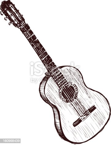 istock Black and white sketch of an acoustic guitar 160968439