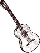 Black and white sketch of an acoustic guitar