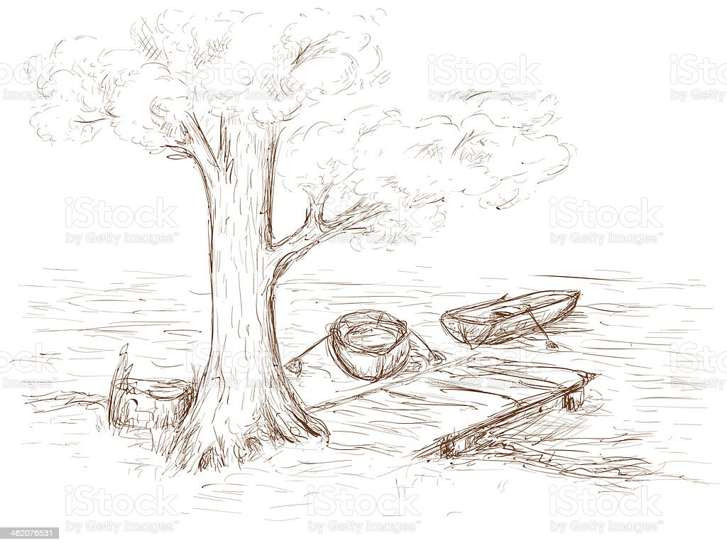 Disegno bianco e nero di molo a lago di betulla immagini for Lago disegno
