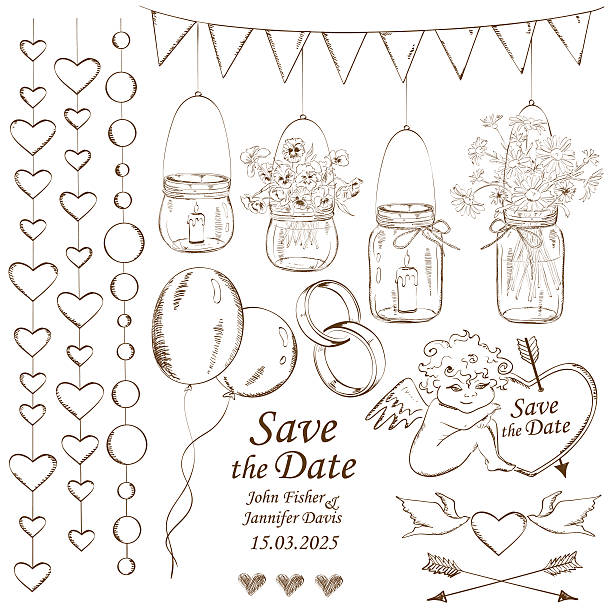 Black and white sketched wedding save the date card vector art illustration