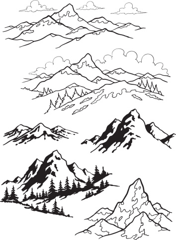 Black and white sketches of mountains