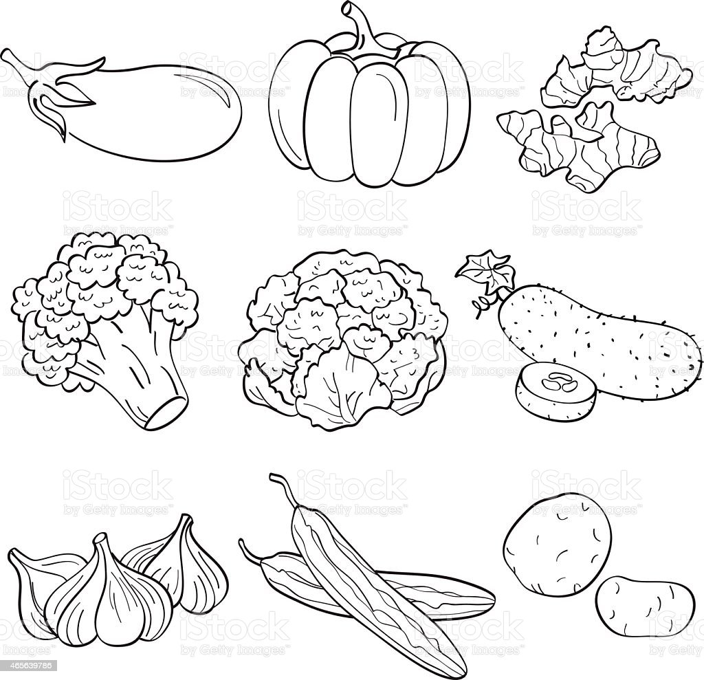 Black and white sketches of nine vegetables in a table view vector art illustration