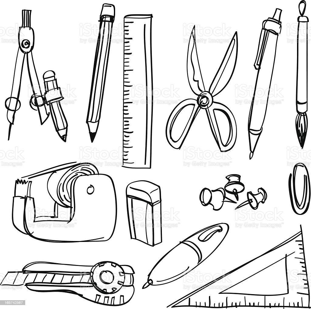 Black and white sketches of stationery items vector art illustration