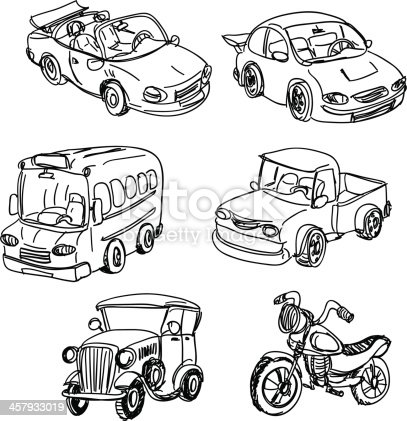 Black And White Sketches Of Varied Motor Vehicles Stock