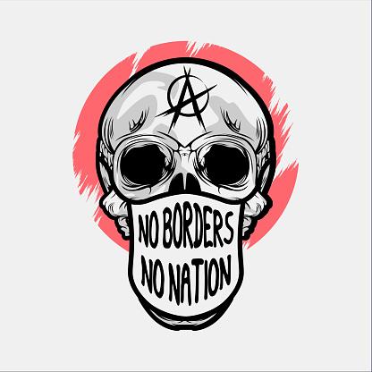 Black And White Skull Diversity Protest T-shirt And Poster  Design Illustration