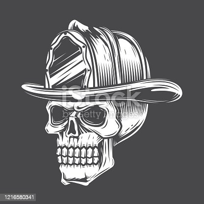 Black and white skull in a fireman hat against a dark background. Vector illustration.