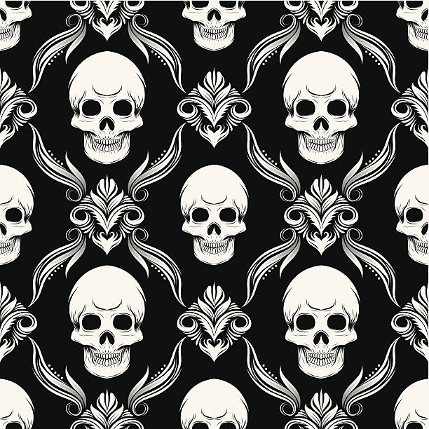 Black and White Skull Pattern vector art illustration