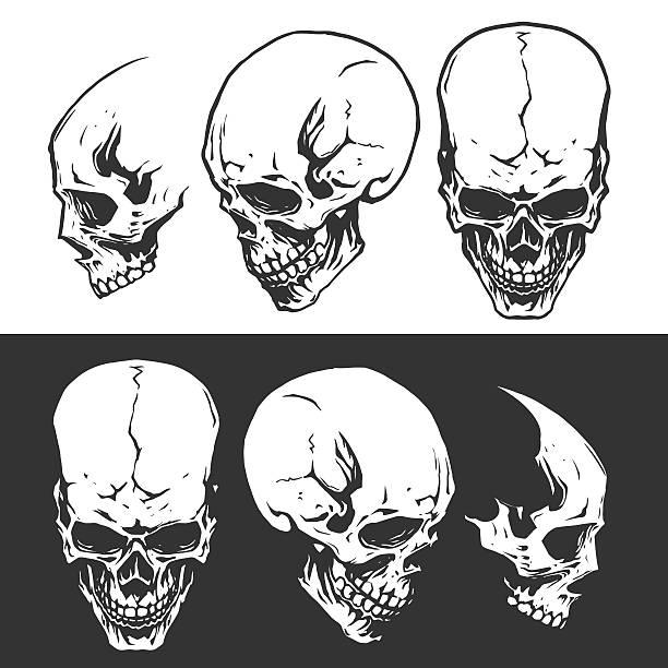 schwarz-weiß totenköpfen - totenkopf tattoos stock-grafiken, -clipart, -cartoons und -symbole