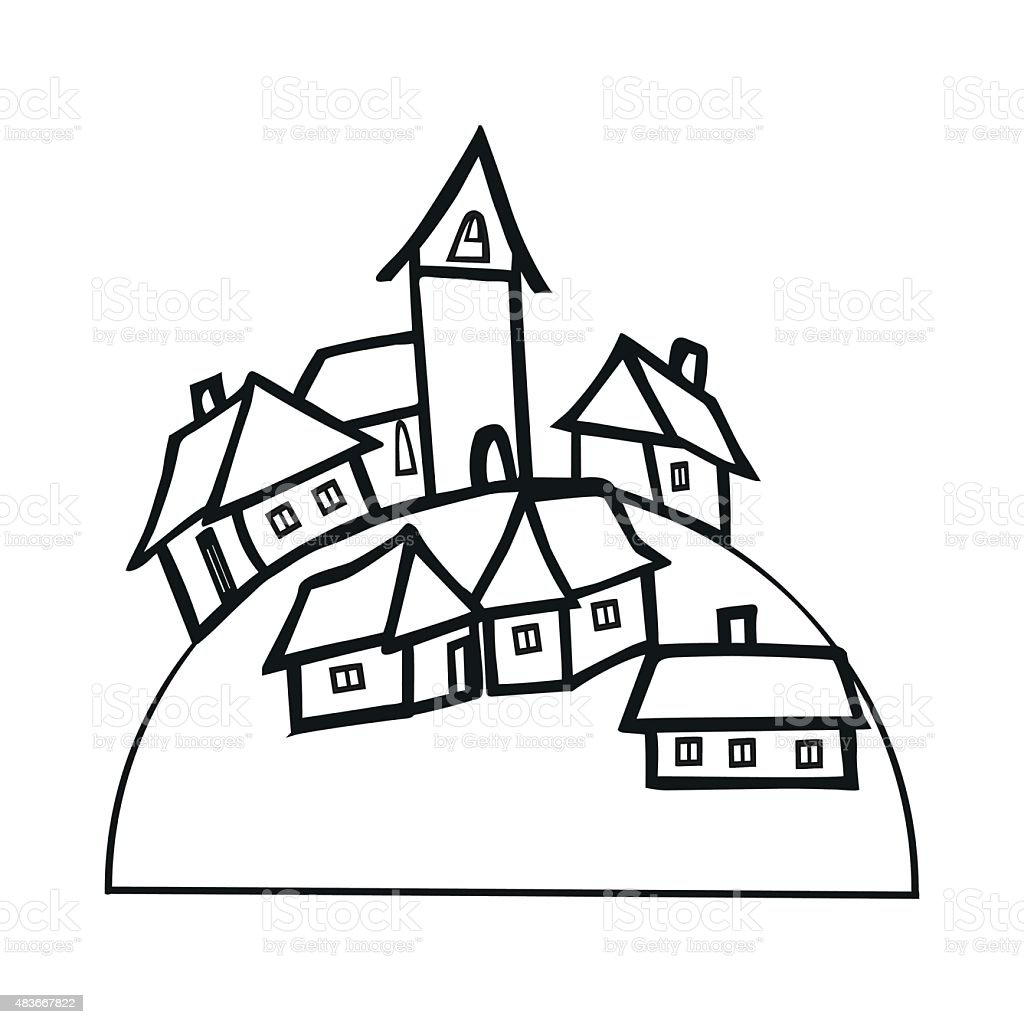 black and white small village stock vector art amp more