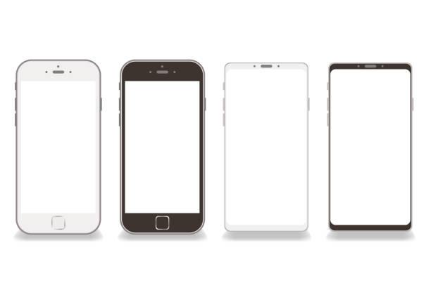 黒と白のスマートフォンフレームベクトル白背景-画面上のコピースペース - スマホ点のイラスト素材/クリップアート素材/マンガ素材/アイコン素材