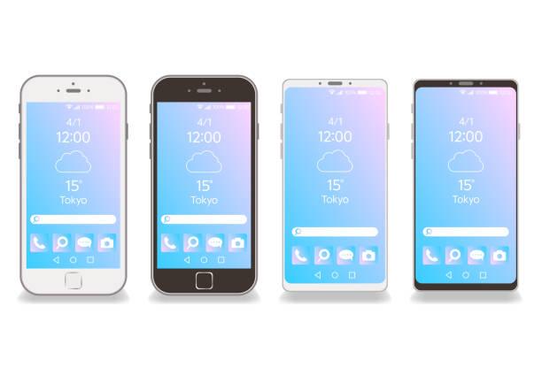 黒と白のスマートフォンフレームベクトル白背景-ホーム画面 - スマートフォン点のイラスト素材/クリップアート素材/マンガ素材/アイコン素材