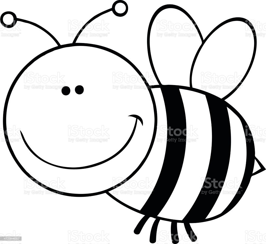 Black And White Smiling Bumble Bee Royalty Free Stock Vector Art