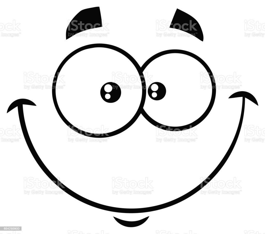 Noir Et Blanc Dessin Animé Drôle Visage Avec Une Expression Heureuse Souriant Vecteurs Libres De Droits Et Plus Dimages Vectorielles De Blanc