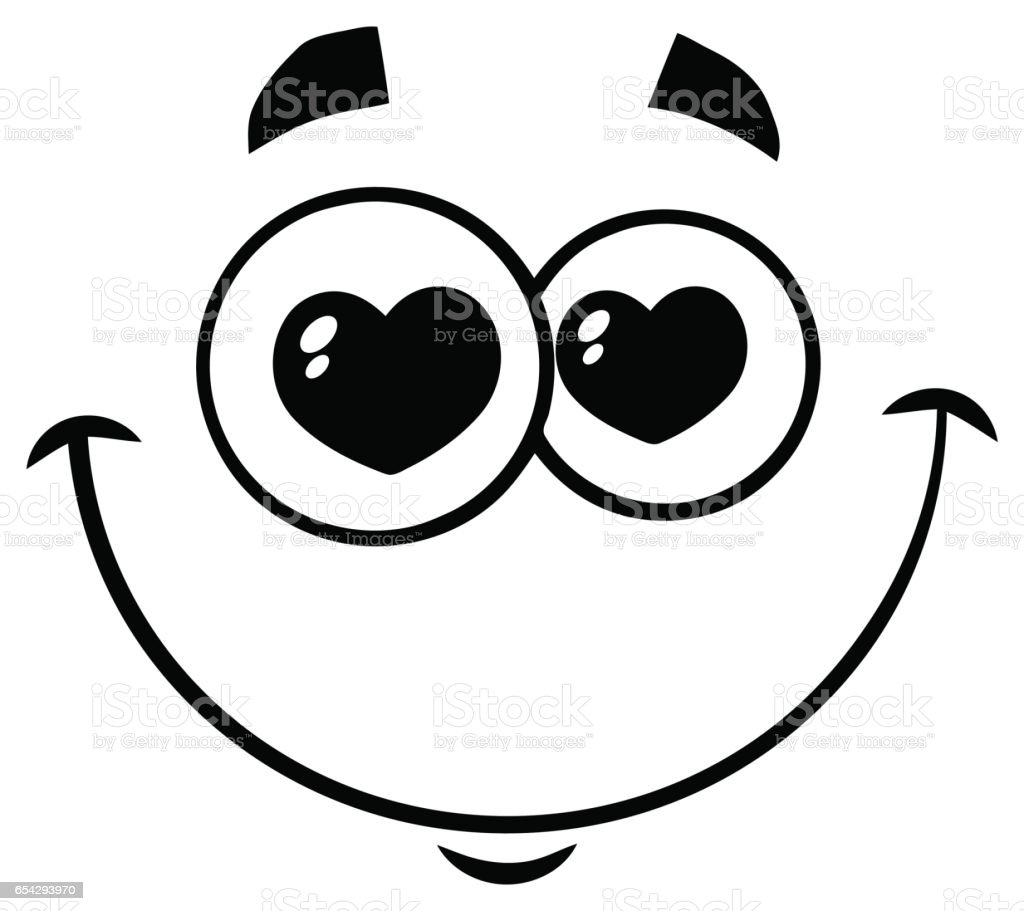 black and white smiling love cartoon funny face with