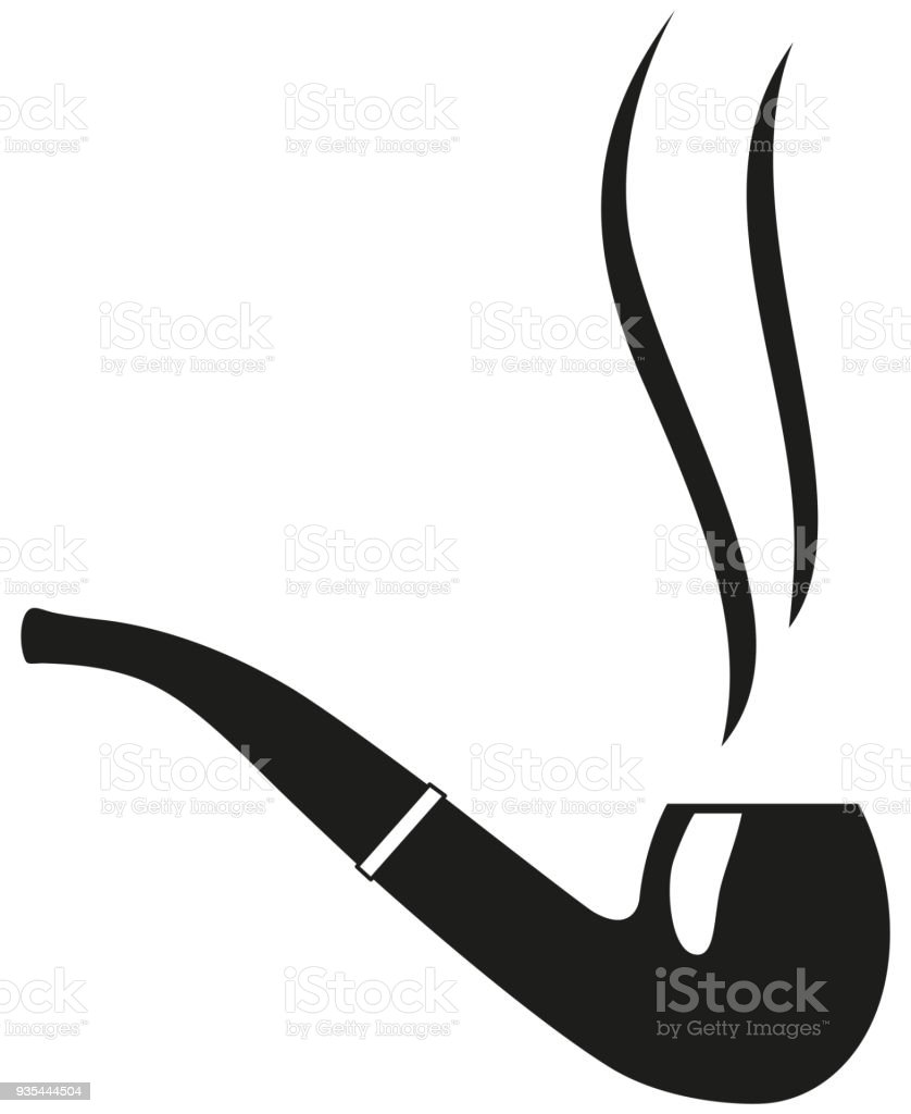 Black And White Smoking Tobacco Pipe Silhouette Stock Vector Art