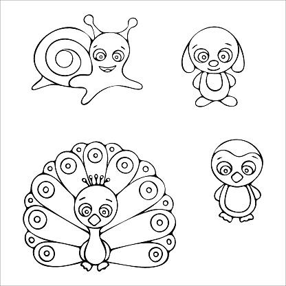Black and white snail, dog, peacock, penguin doodle sketch illustration.