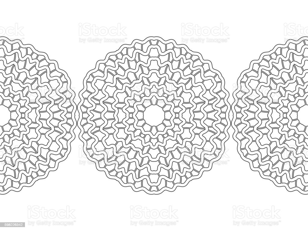 Black And White Snowflake For Coloring Book Seamless Christmas ...