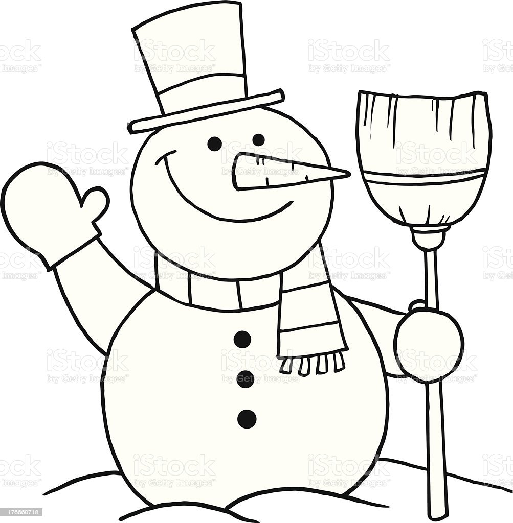 Black and White Snowman With A Broom royalty-free stock vector art