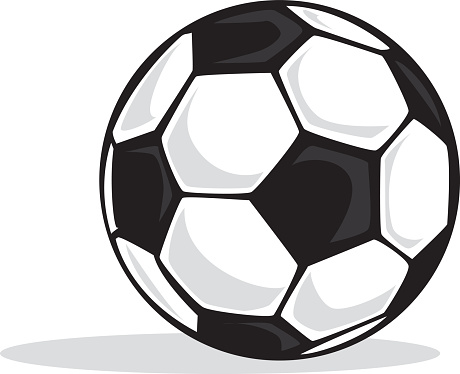 Black and white soccer ball with shadows