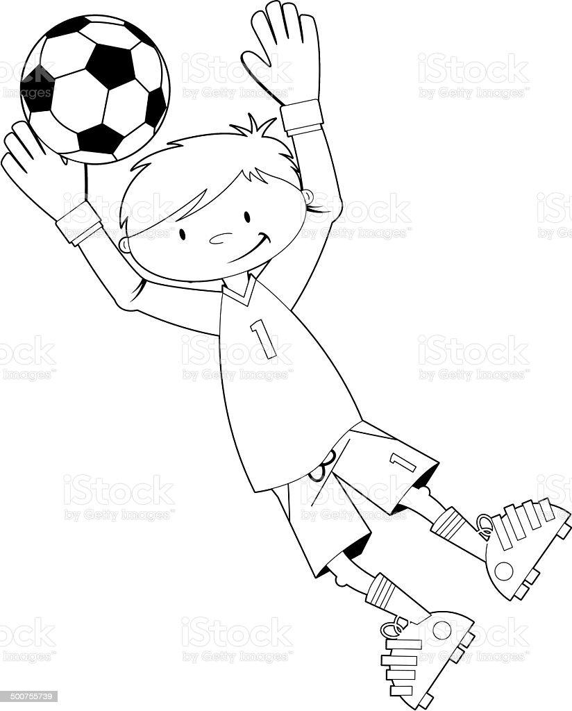 Black and White Soccer Football Goalkeeper royalty-free stock vector art