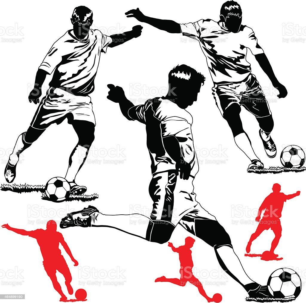 Black and white soccer players with red imprints vector art illustration