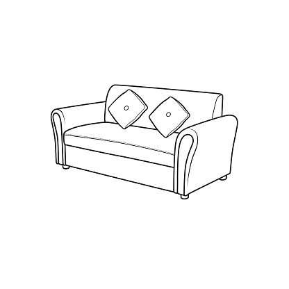 Black and white sofa pictures for coloring cartoons for children. which is a vector illustration for preschool and home training for parents and teachers.