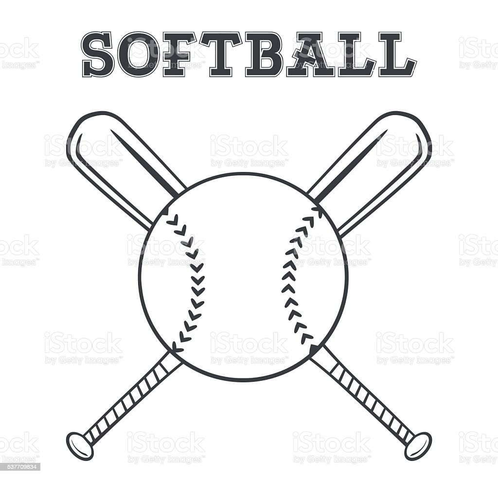 Black and White Softball Over Crossed Bats Logo vector art illustration