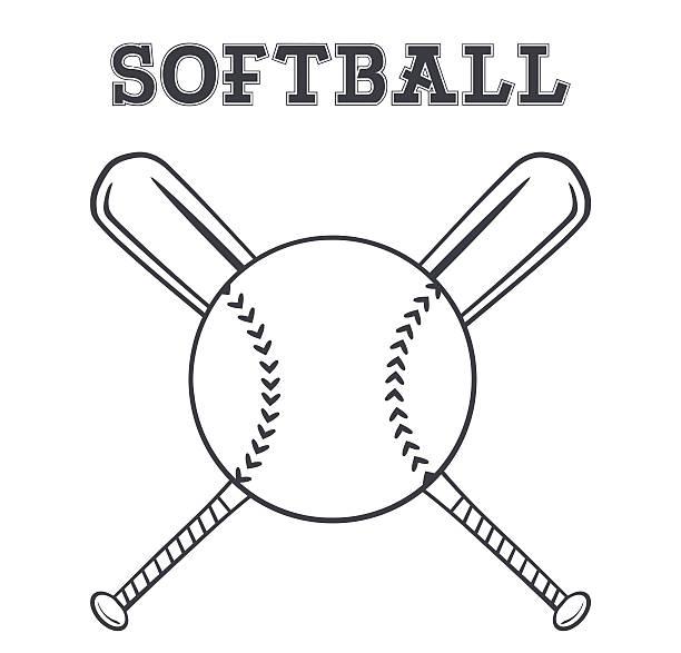 白黒ソフトボールバットロゴの上にクロス - ソフトボール点のイラスト素材/クリップアート素材/マンガ素材/アイコン素材